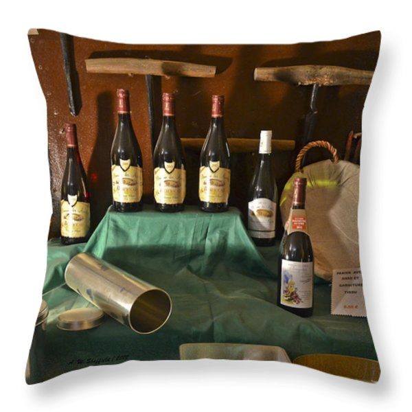 Inside the Wine Cellar Throw Pillow by Allen Sheffield