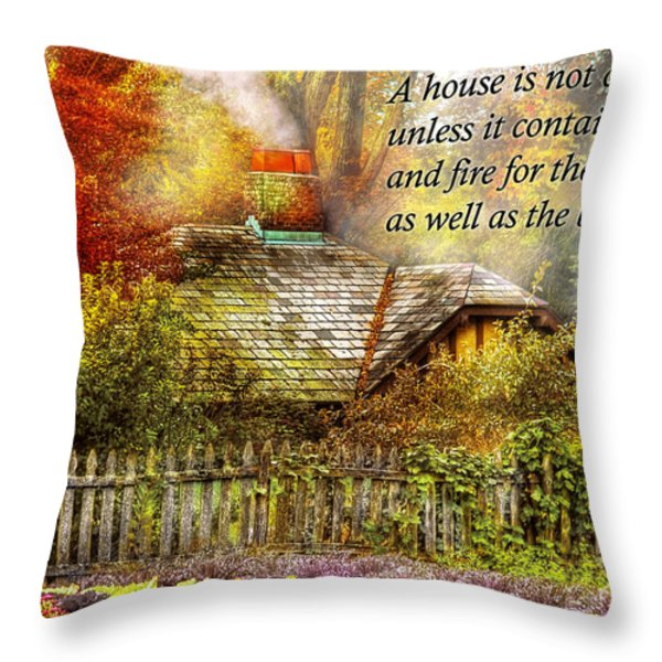 Inspirational - Home is where it's warm inside - Ben Franklin Throw Pillow by Mike Savad