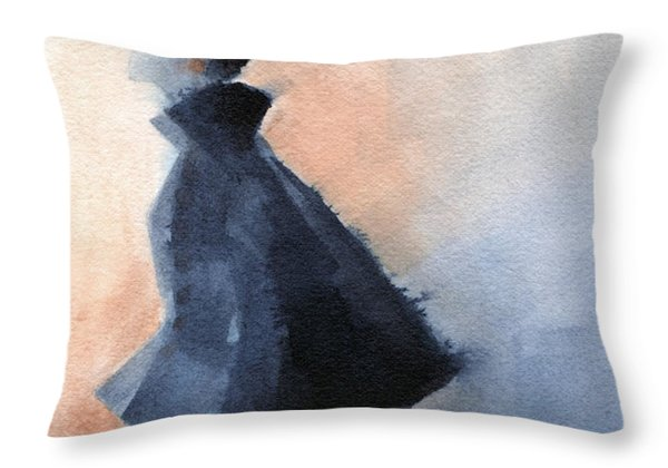Inspired By Balenciaga Fashion Illustration Art Print Throw Pillow by Beverly Brown Prints