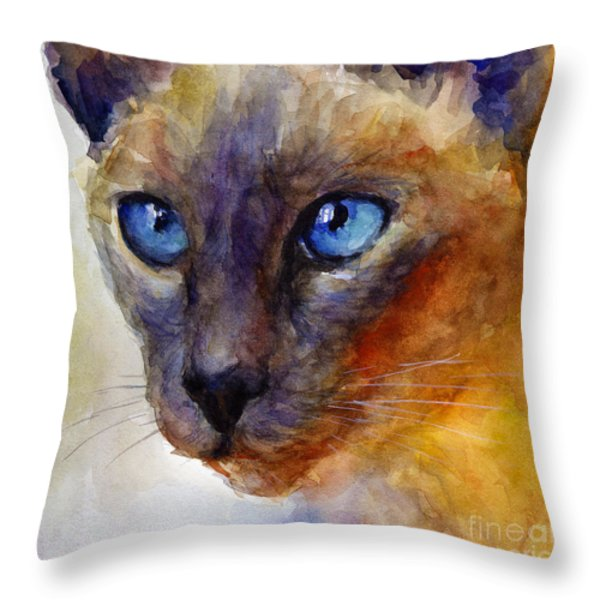 Intense Siamese Cat Painting Print 2 Throw Pillow by Svetlana Novikova