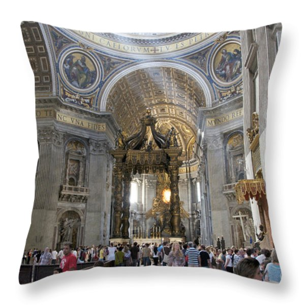 Interior of St Peter's Dome. Vatican City. Rome. Lazio. Italy. Europe Throw Pillow by BERNARD JAUBERT