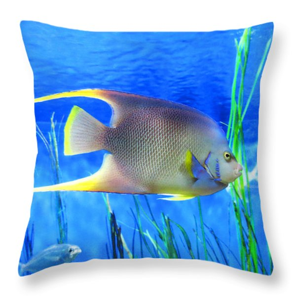Into Blue - Tropical Fish by Sharon Cummings Throw Pillow by Sharon Cummings