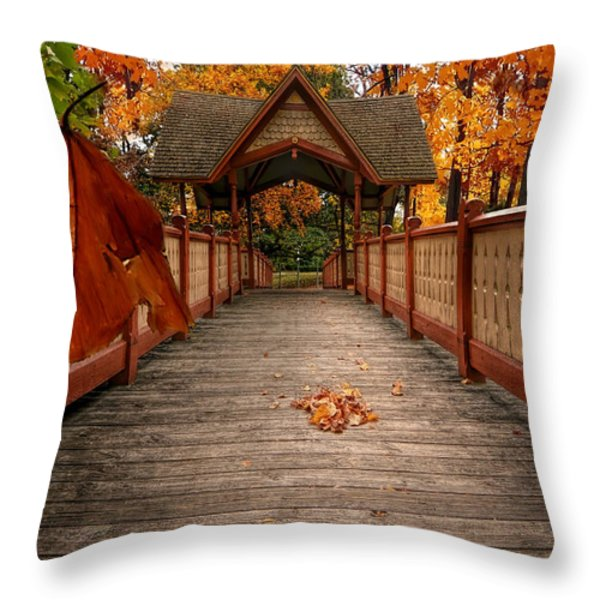 Into the autumn Throw Pillow by Lourry Legarde