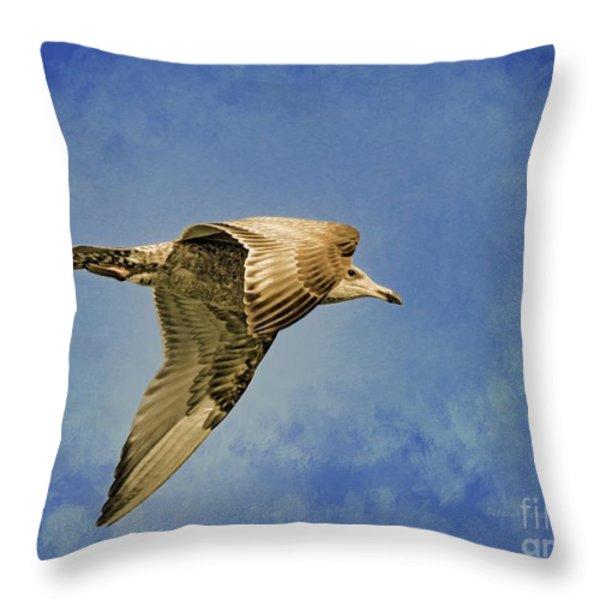 Into The Blue Throw Pillow by Deborah Benoit