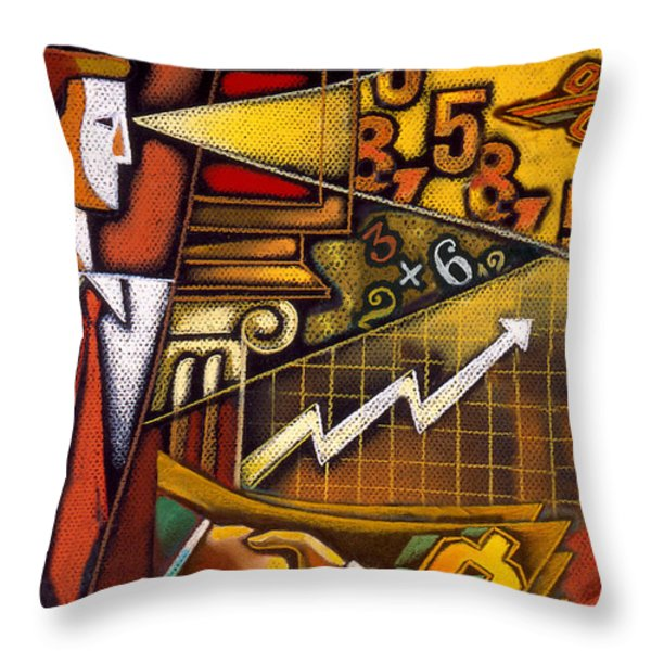 Investor Throw Pillow by Leon Zernitsky