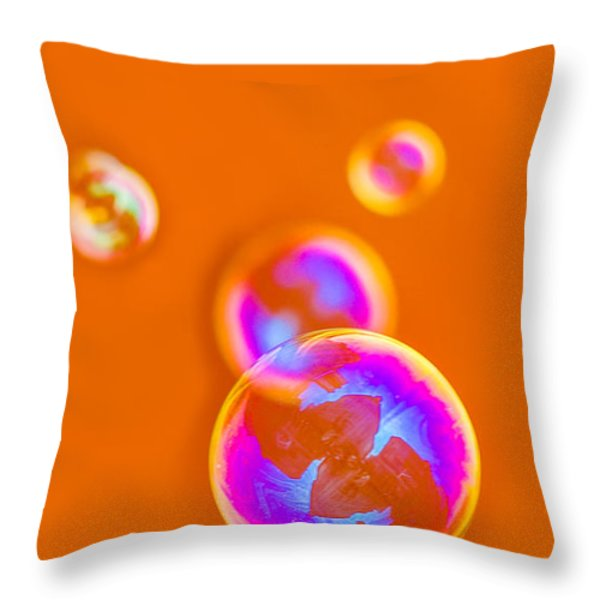 iPhone Case - Orange Bubbles Throw Pillow by Alexander Senin
