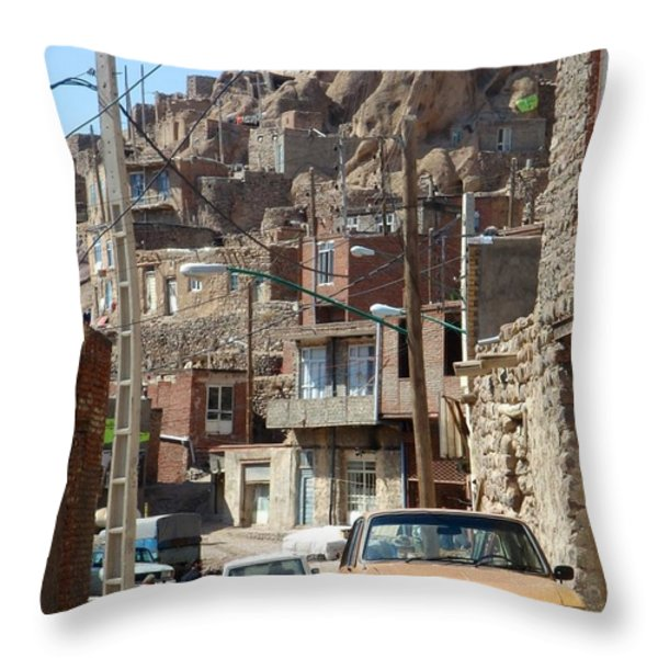 Iran Kandovan Cars And Wires Throw Pillow by Lois Ivancin Tavaf