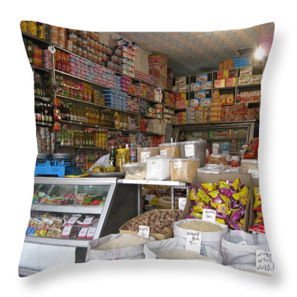 Iran Shiraz Shop Owner Throw Pillow by Lois Ivancin Tavaf