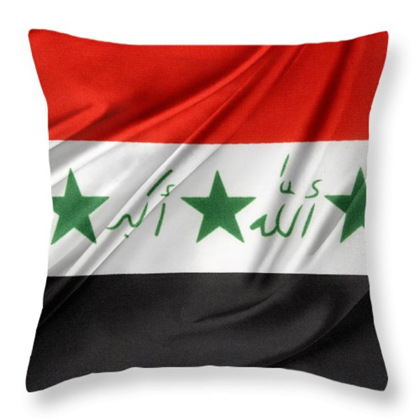 Iraq Flag Throw Pillow by Les Cunliffe