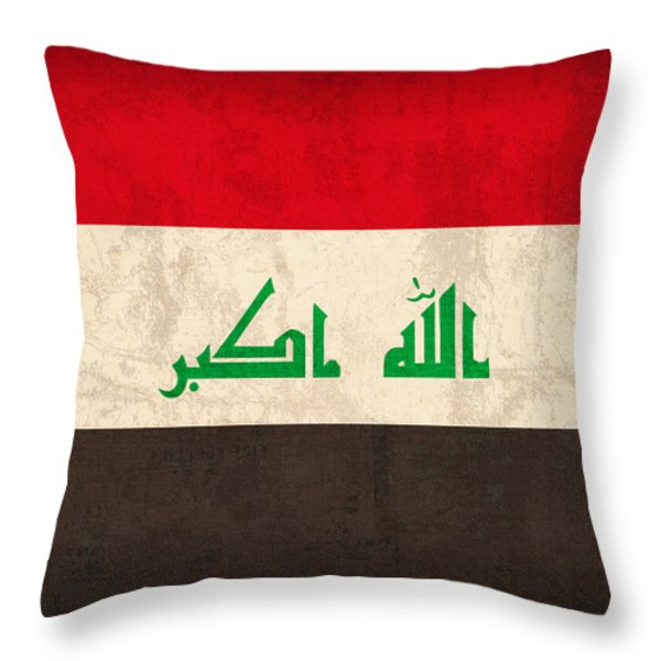 Iraq Flag Vintage Distressed Finish Throw Pillow by Design Turnpike