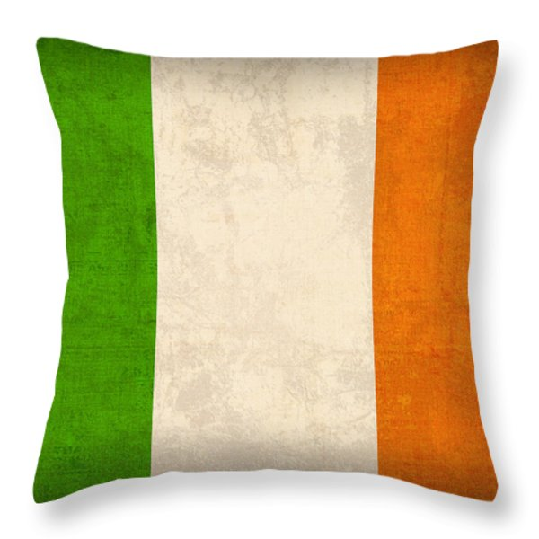 Ireland Flag Vintage Distressed Finish Throw Pillow by Design Turnpike