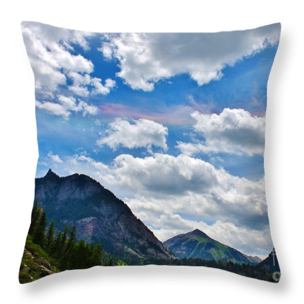 Iridescent Clouds Above Ouray Colorado Throw Pillow by Janice Rae Pariza