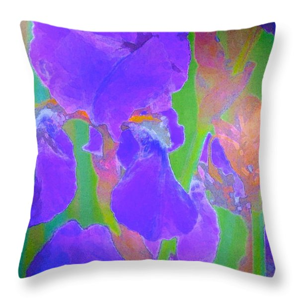Iris 59 Throw Pillow by Pamela Cooper