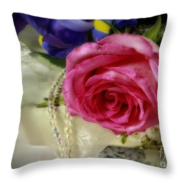 Iris And Rose On Vintage Treasure Box Throw Pillow by Inspired Nature Photography By Shelley Myke