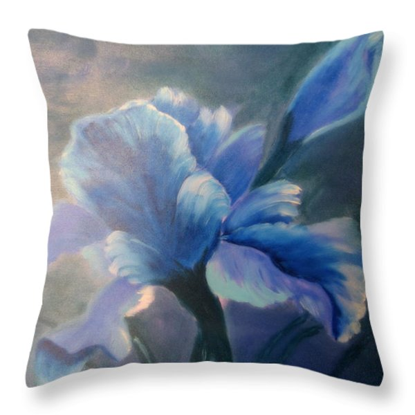 Iris Blue Throw Pillow by Kay Novy