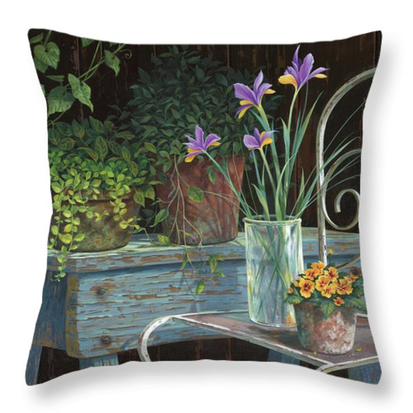 Irises Throw Pillow by Michael Humphries