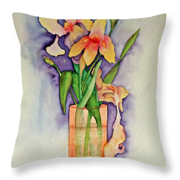 Irises Throw Pillow by Terri Mills