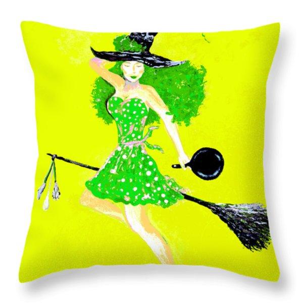 Irish Kitchen Witch Throw Pillow by Alys Caviness-Gober