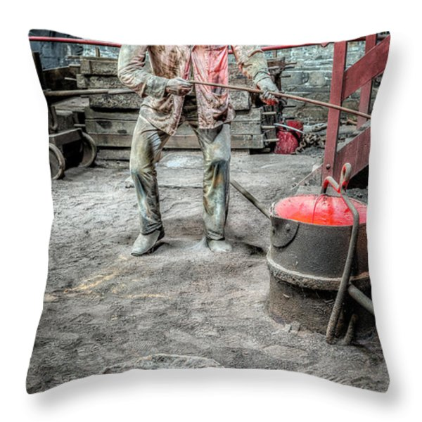 Iron and Brass Foundry Throw Pillow by Adrian Evans