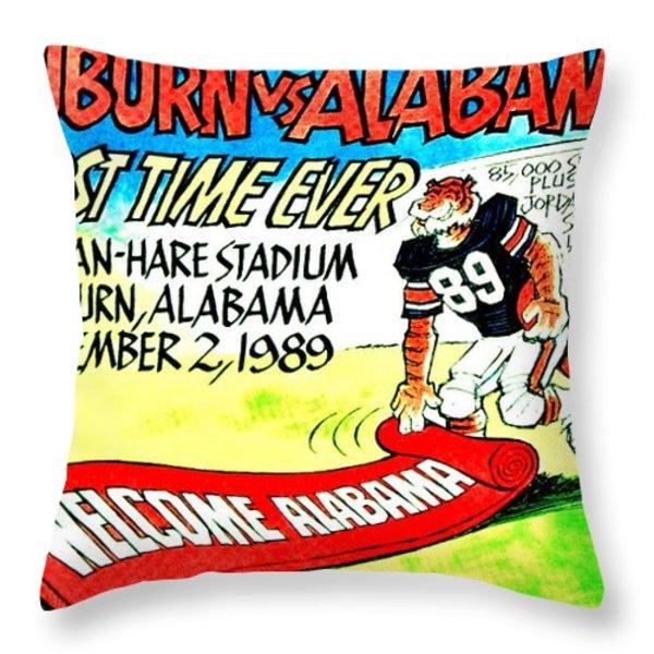 Iron Bowl '89 Throw Pillow by Benjamin Yeager