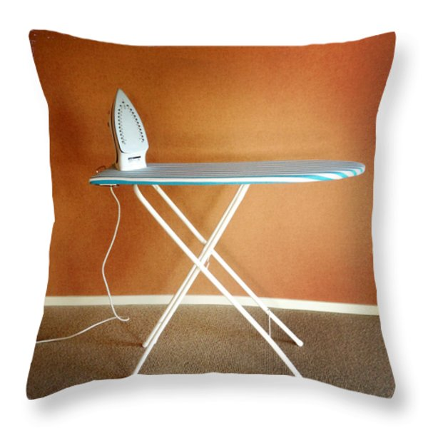 Iron on board Throw Pillow by Les Cunliffe