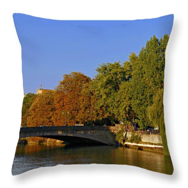 Isar River - Munich - Bavaria Throw Pillow by Christine Till