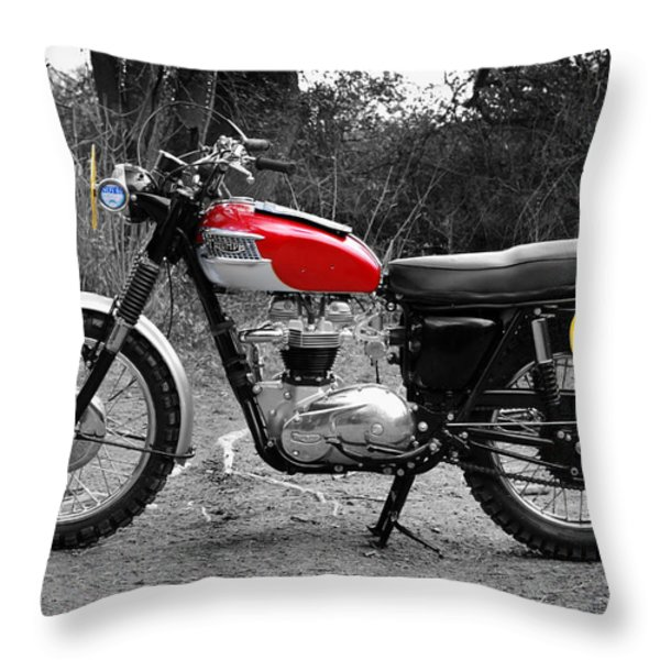 ISDT Triumph Steve McQueen 1964 Throw Pillow by Mark Rogan