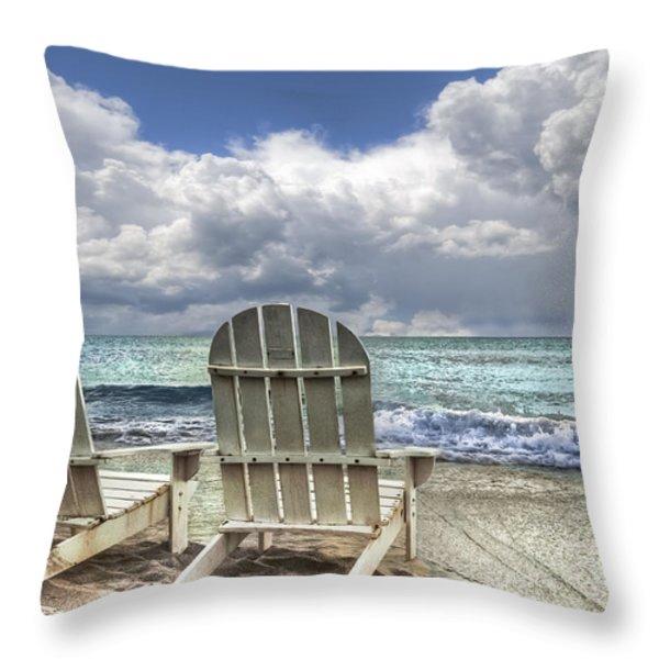 Island Attitude Throw Pillow by Debra and Dave Vanderlaan