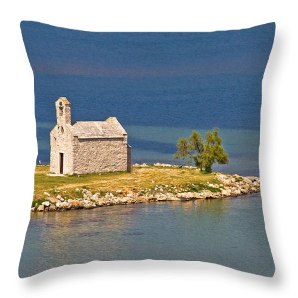 Island church by the sea Throw Pillow by Dalibor Brlek