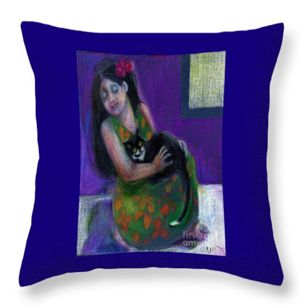 Island Girl And Cat Throw Pillow by Cecily Mitchell