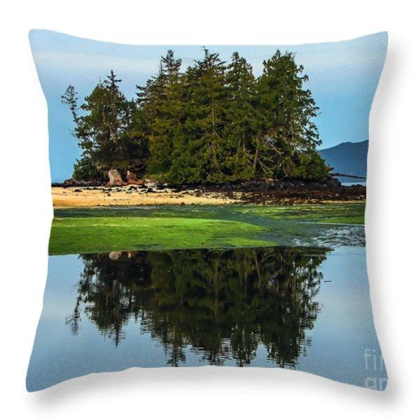 Island Reflection Throw Pillow by Robert Bales