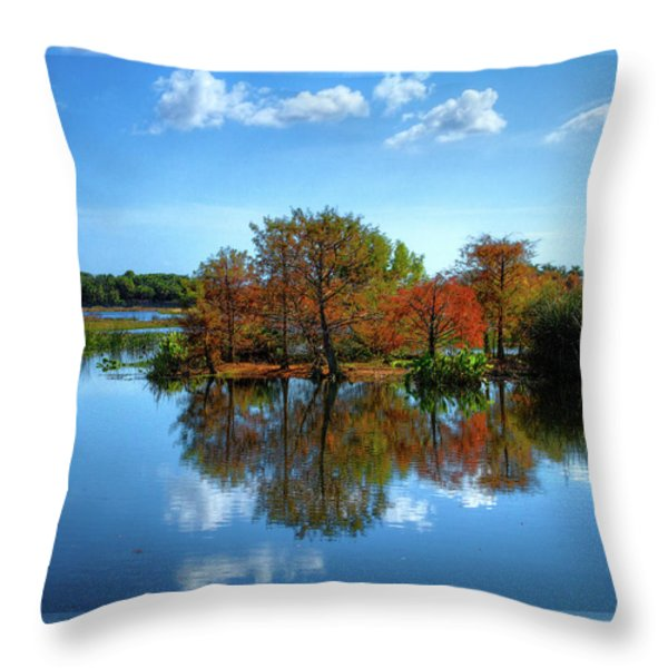 Islands In The Sun Throw Pillow by Debra and Dave Vanderlaan