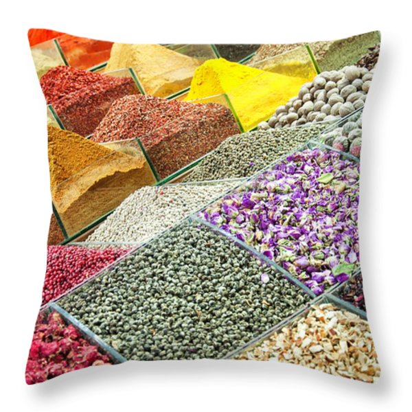 Istanbul egyptian spice market 01 Throw Pillow by Antony McAulay