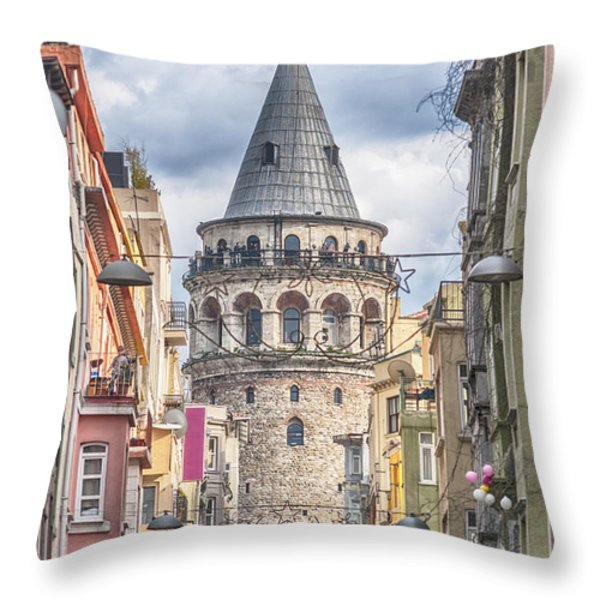 Istanbul Galata Tower Throw Pillow by Antony McAulay