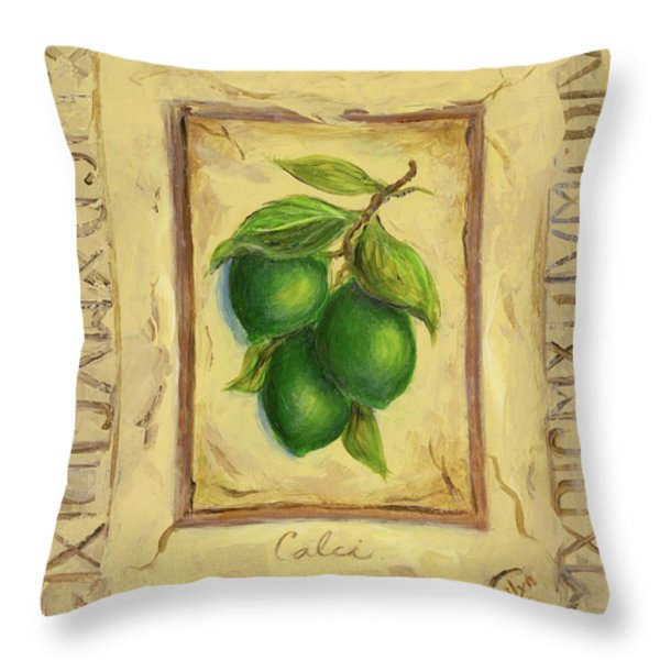 Italian Fruit Limes Throw Pillow by Marilyn Dunlap