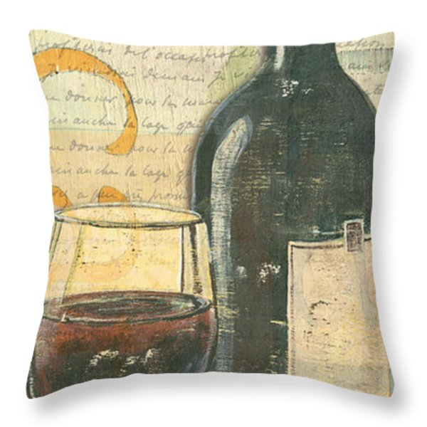 Italian Wine and Grapes Throw Pillow by Debbie DeWitt