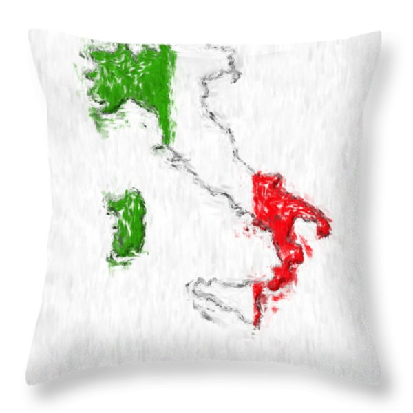 Italy Painted Flag Map Throw Pillow by Antony McAulay