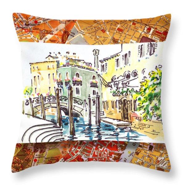 Italy Sketches Venice Canale Throw Pillow by Irina Sztukowski