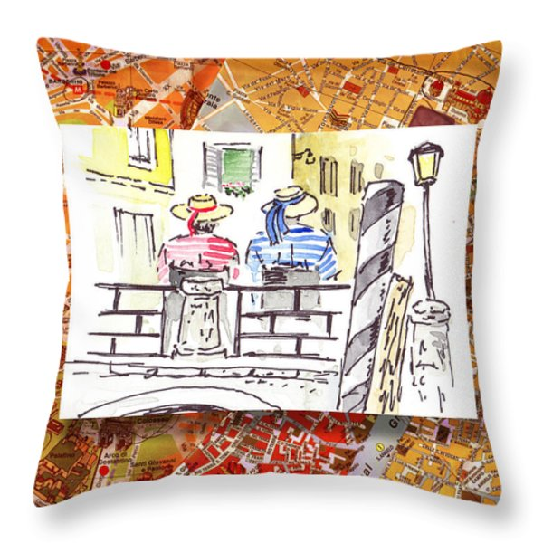Italy Sketches Venice Two Gondoliers Throw Pillow by Irina Sztukowski