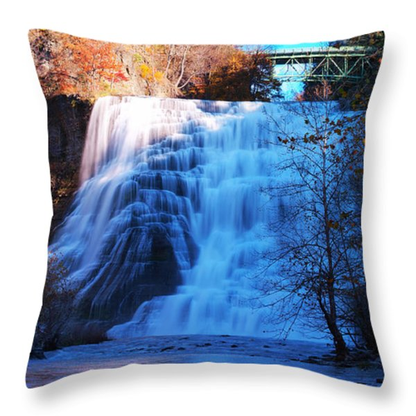 Ithaca water falls New York Panoramic photography Throw Pillow by Paul Ge
