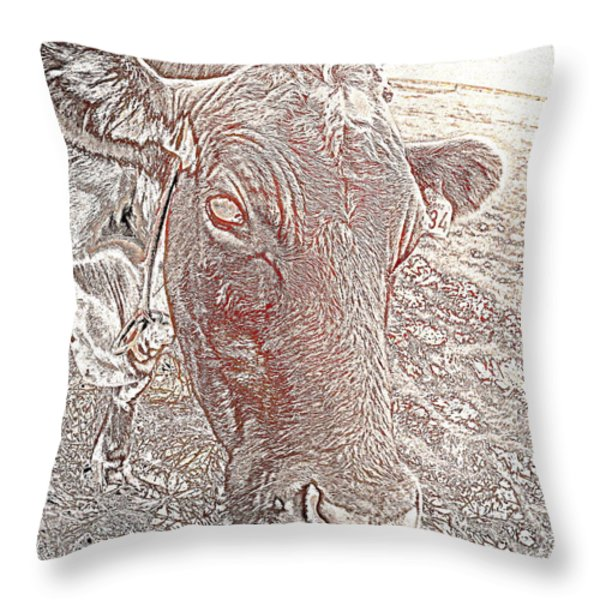 Its a cows life  Throw Pillow by Hilde Widerberg