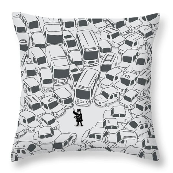 It's a jam mr police Throw Pillow by Budi Kwan