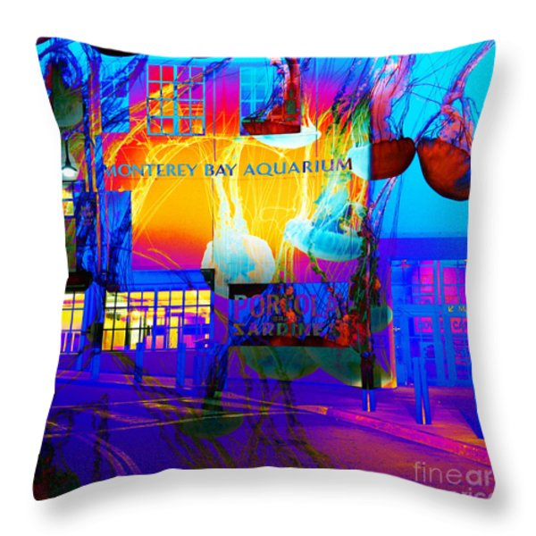 Its Raining Jelly Fish At The Monterey Bay Aquarium 5D25177 Square Throw Pillow by Wingsdomain Art and Photography