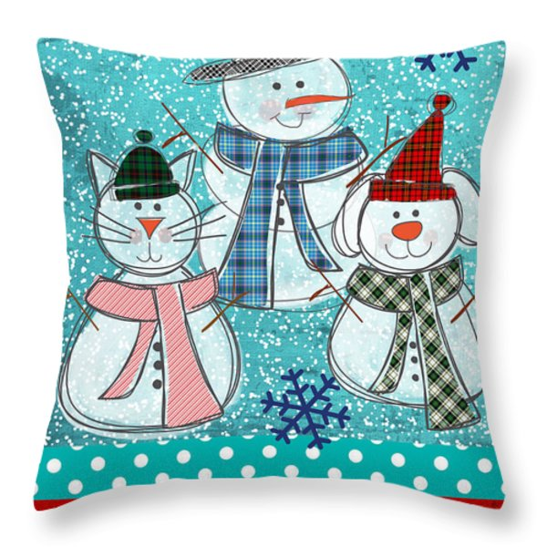 It's Snowtime Throw Pillow by Linda Woods