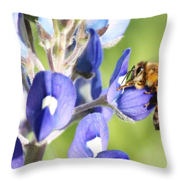 I've Got A Bee In My Bluebonnet Throw Pillow by Lorri Crossno
