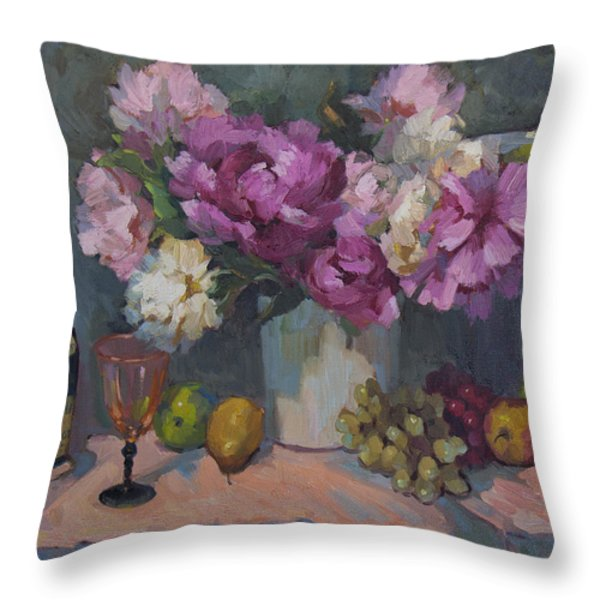 J. P. Chenet And Peonies Throw Pillow by Diane McClary