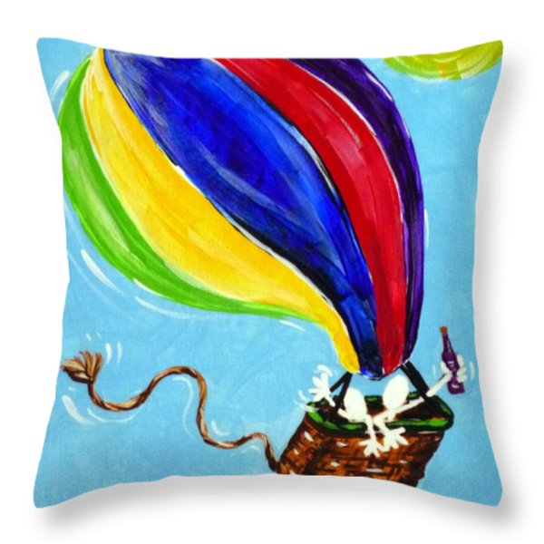 Jack And Charlie Fly Away Throw Pillow by Jackie Carpenter
