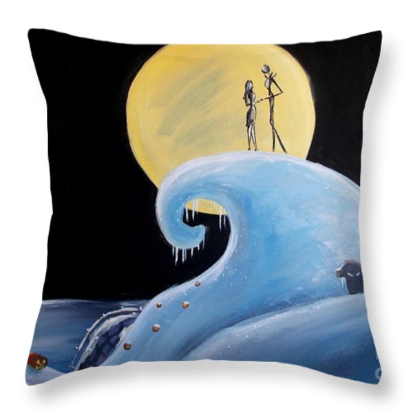 Jack And Sally Snowy Hill Throw Pillow by Marisela Mungia