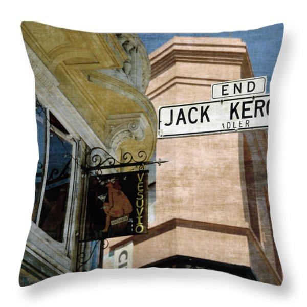 Jack Kerouac Alley And Vesuvio Pub Throw Pillow by RicardMN Photography