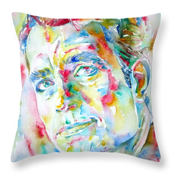 Jack Kerouac Portrait.1 Throw Pillow by Fabrizio Cassetta